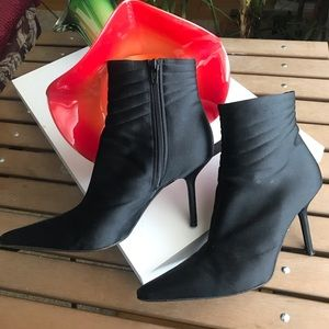 Anne Klein Black Satin Booties